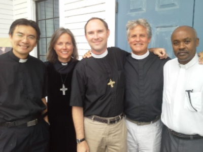 Clergy team following August 7th service: (Left to Right) Pastor Abraham Chan, Mother Cinnamon Creeden, Fr. Evan Pillsbury, Fr. Bill Blomquist (guest musician for the day) and Fr. Jean Ngabo Segasinde